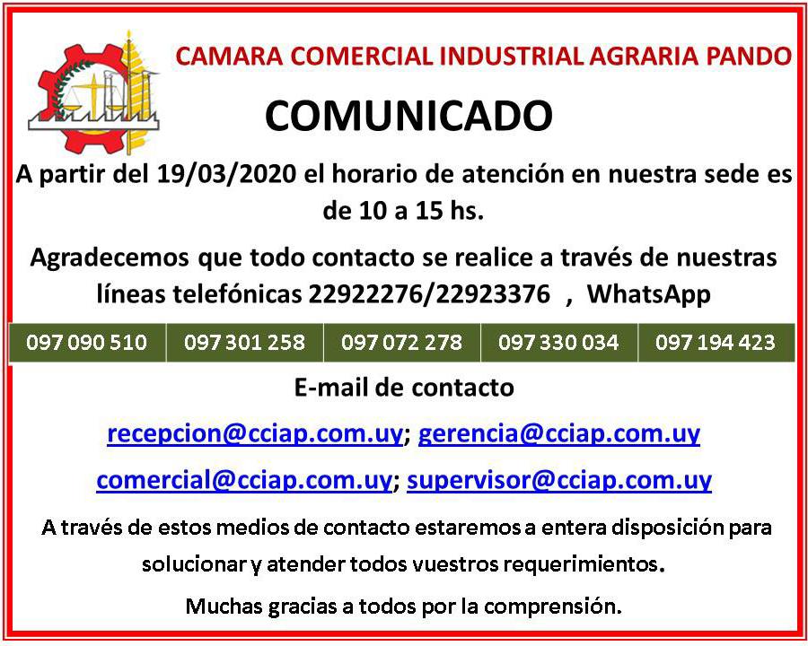Comunicado Coronavirus - CCIAP