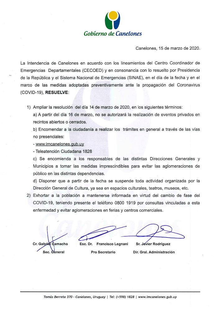 Comunicado Gobierno de Canelones - Coronavirus
